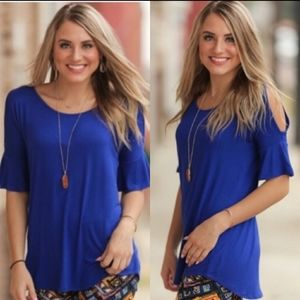 Infinity Raine blue cold shoulder flare sleeve top